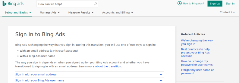 bing ads signup