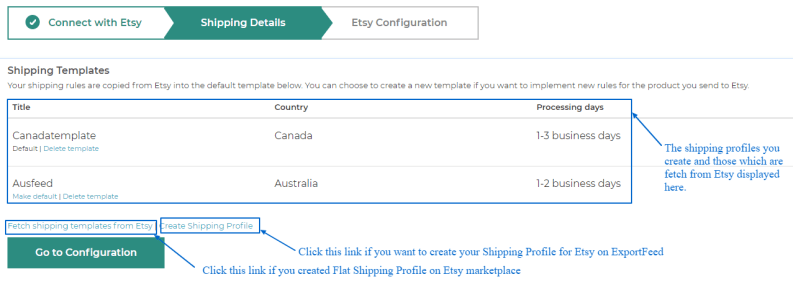 shipping details for Etsy Connection