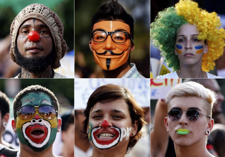 Protesters wearing masks in Recife