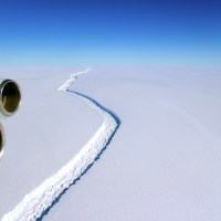 Larsen C Ice Shelf rift from an aerial view