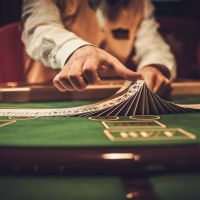 Card dealer shuffling cards