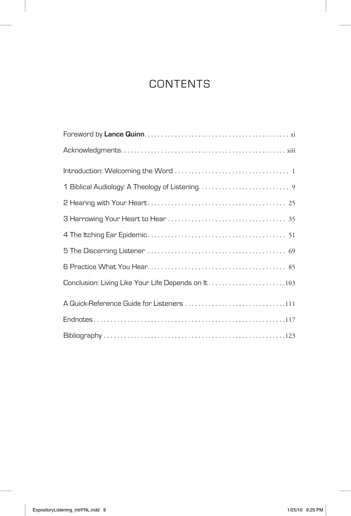 Table Of Contents Expository Listening