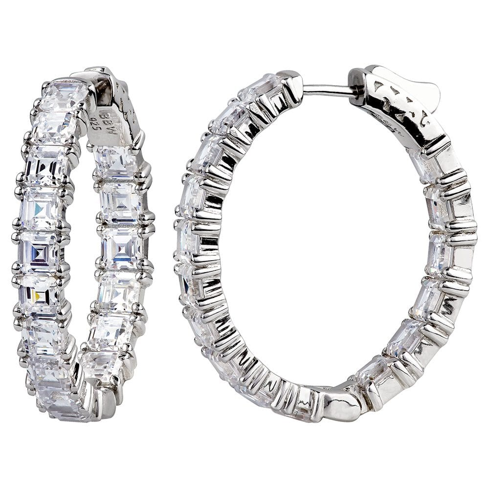 """""""Sterling Silver 1.25"""" Asscher Cut Oval Couture Hoops"""