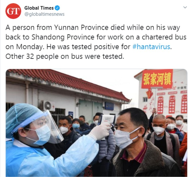 Just in: Chinese Man infected with #Hantavirus dies on bus in ...