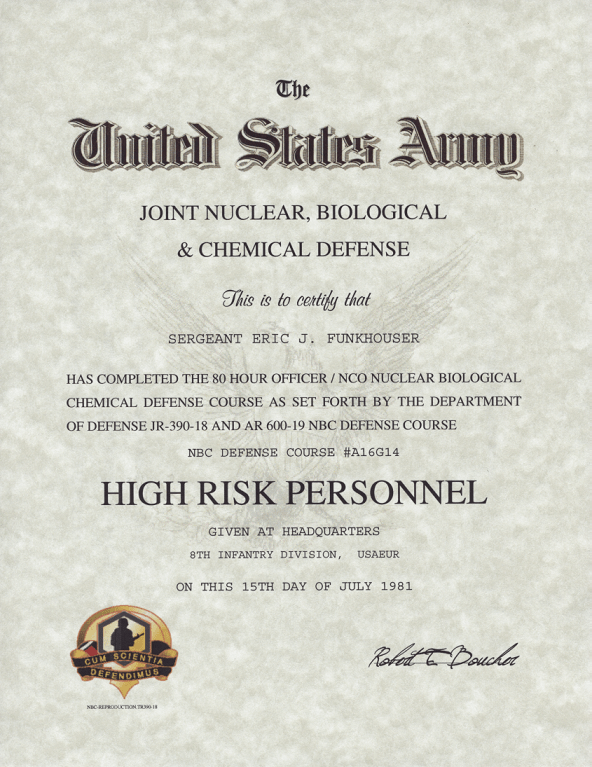 Army Nuclear, Biological & Chemical Defense Course, High
