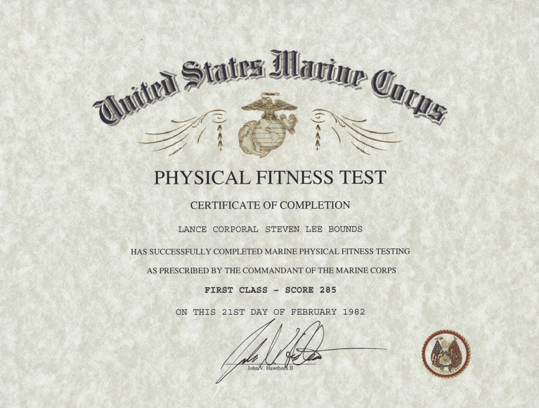 Marine Physical Fitness Test, PFT Certificate