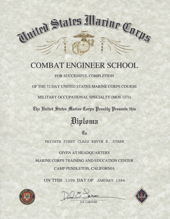 USMC Combat Engineer School, Certificate