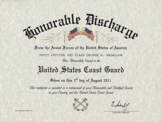 Coast Guard Honorable Discharge Certificate