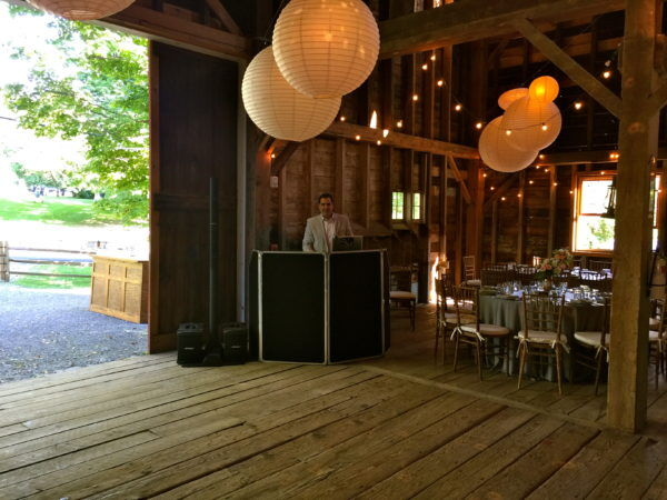 DJ Dave Set up in Shadow Lawn Barn