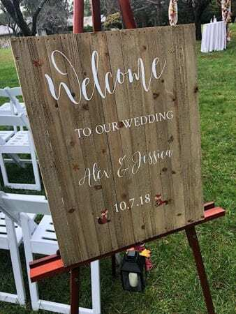 Bride and Groom welcome sign at Perona Farms NJ Wedding