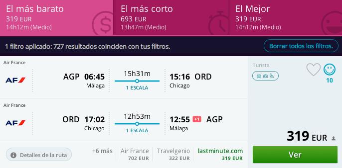 vuelos baratos Málaga - Chicago 319 euros