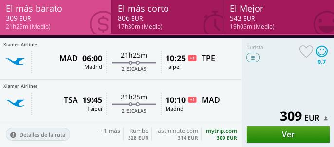 Vuelos baratos Madrid - Taipei 309 euros