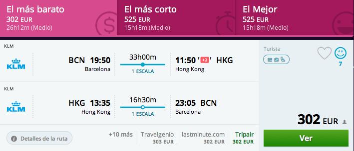 Vuelos baratos Barcelona Hong Kong 303 euros