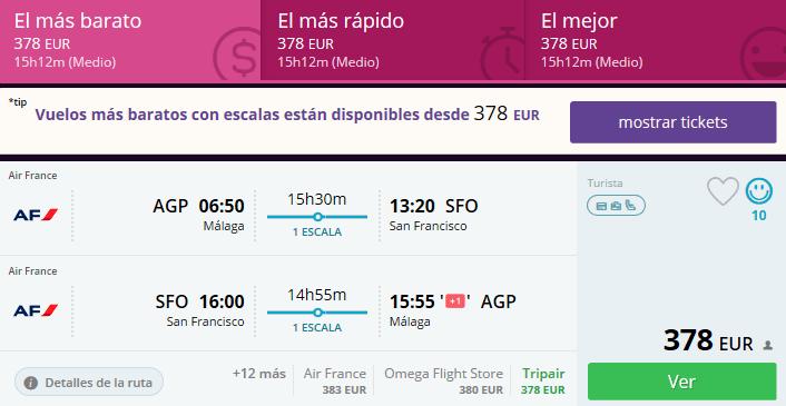 vuelos baratos málaga san francisco
