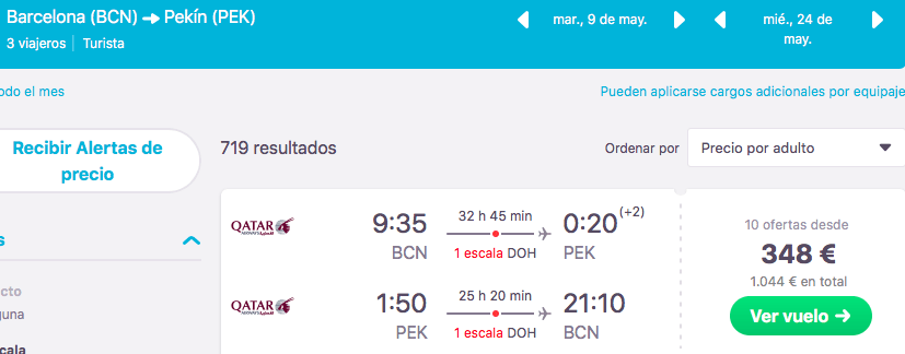 QATAR AIRWAYS TRAVEL FESTIVAL OFERTA VUELOS BARCELONA PEKIN