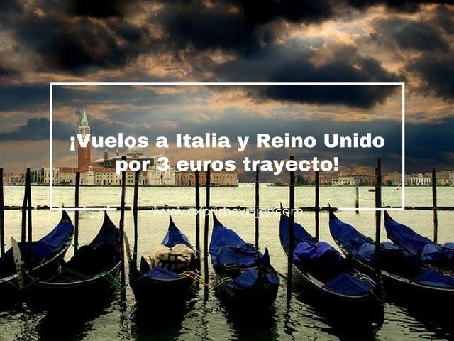 3 euros trayecto vuelos a italia reino unido