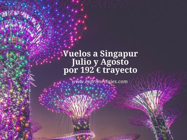 VUELOS A SINGAPUR EN JULIO Y AGOSTO POR 192EUROS TRAYECTO