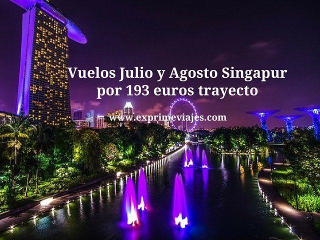 Vuelos Julio y Agosto Singapur por 193 euros trayecto