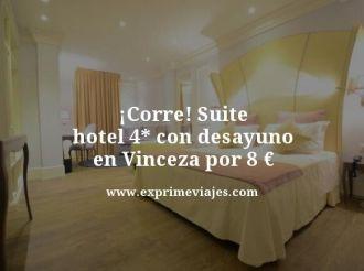 corre suite hotel 4 estrellas con desayuno en Vincenza por 8 euros
