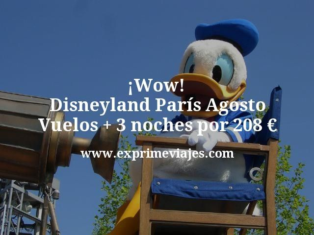 Disneyland París Agosto: Vuelos + 3 noches por 208euros