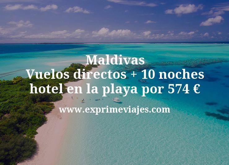 Maldivas: Vuelos directos + 10 noches hotel en la playa por 574euros