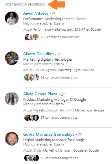 Análisis de red vía búsqueda avanzada en Linkedin 6