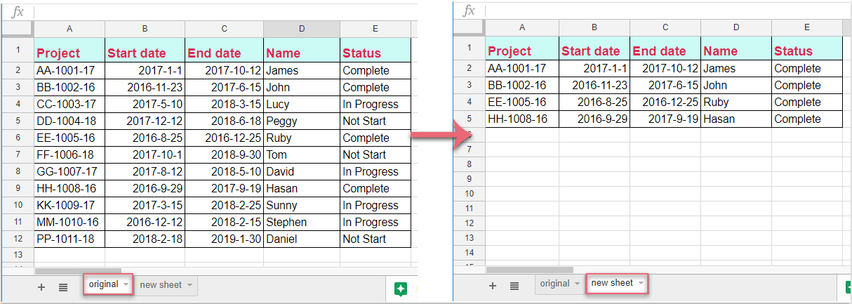 How to copy row to another sheet based on cell value in Google sheet?