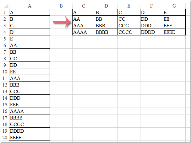 How to transpose/convert a single column to multiple