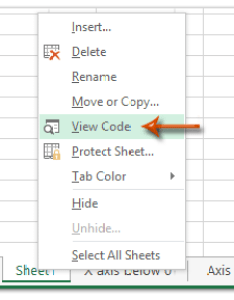 Step select the scatter chart and right click current worksheet name on sheet tab bar view code from clicking menu also how to change axis   min max value with formula in excel rh extendoffice