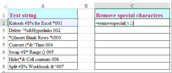 How to remove some special characters from string in Excel?