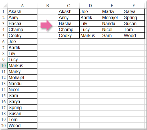 How to split a long list into equal groups in Excel?