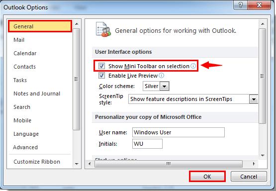 Outlook 2007 Options Menu