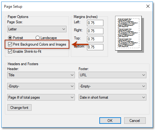 In The Page Setup Dialog Box Please Check Print Background Colors And Images Option