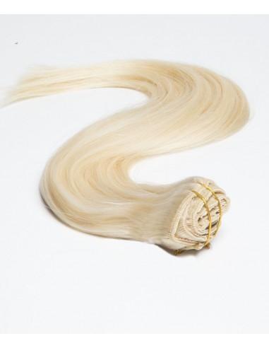 Haar Clips Extensions Echthaar Platinblond  Extens Hair
