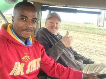 Two men in combine.
