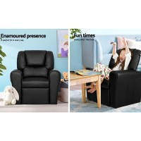Kid's PU Leather Reclining Arm Chair - Black | eBay
