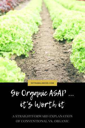 Learn why going organic is SO worth it in the long run. Here's a complete explanation of organic vs. conventional foods - easy, simple. Click through now to Extra Balanced to get the full breakdown!