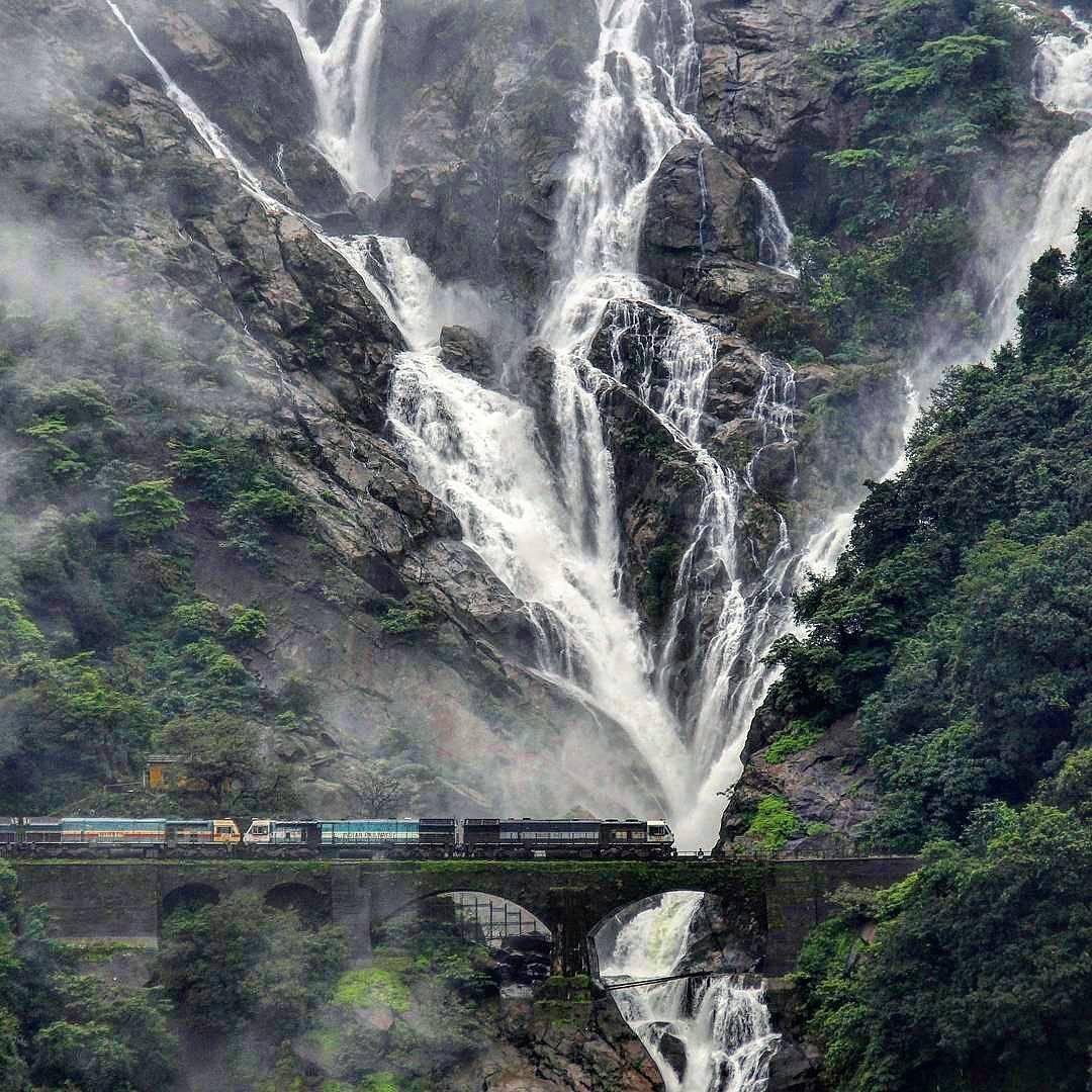 Top 5 Offbeat Monsoon Destinations In India  - Dudhsagar Falls Goa