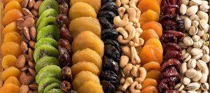 varieties of dried fruits