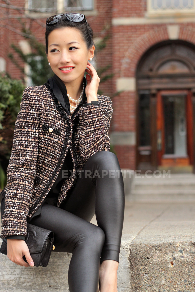 Faux Leather Cropped Tweed Chanel Style Jacket For