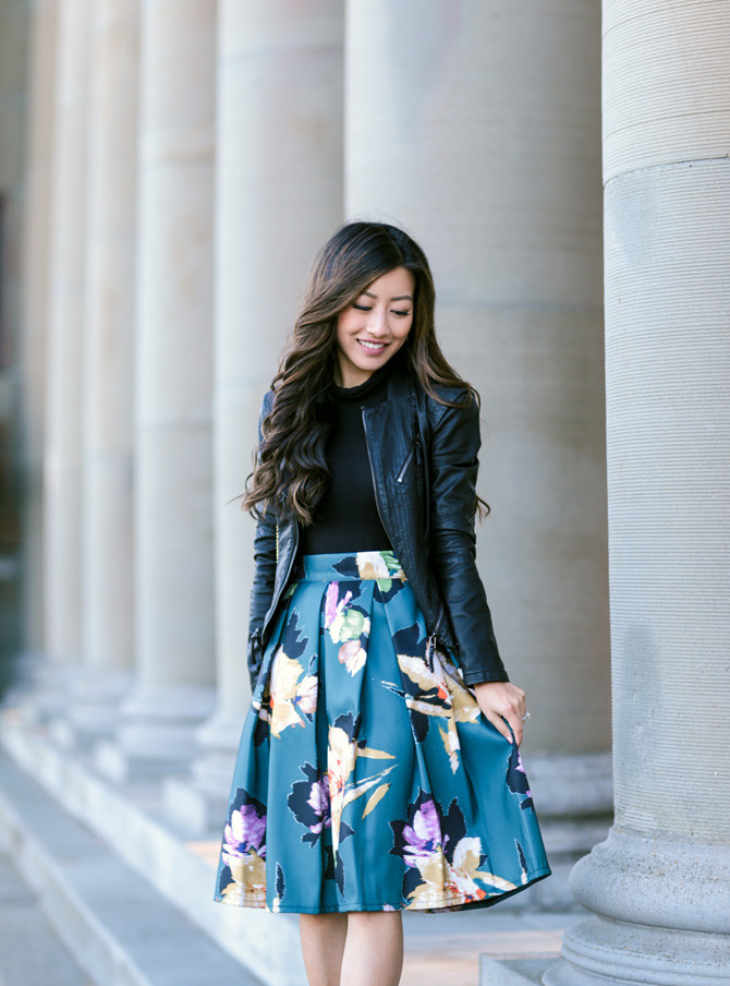 San Francisco Cropped Moto Jacket Pleated Floral