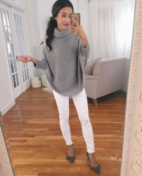 Fall wardrobe: the poncho sweater (options for petites)