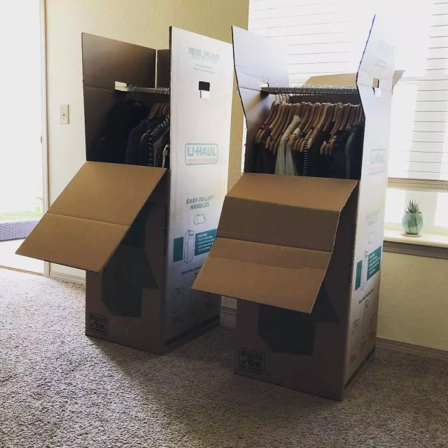 Uhaul wardrobe moving boxes for hanging garments. Photo by Instagram user @daniellcurtis5