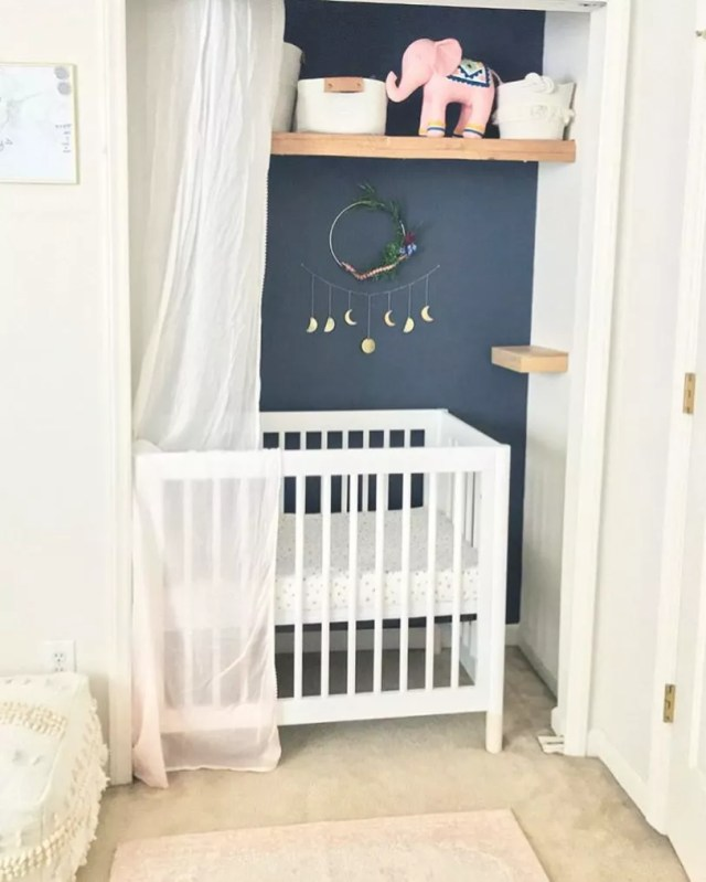 Baby nursery set up in closet. Photo by Instagram user @babyletto