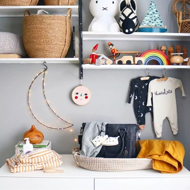 Baby decor and storage on wall. Photo by Instagram user @littlebabycompany