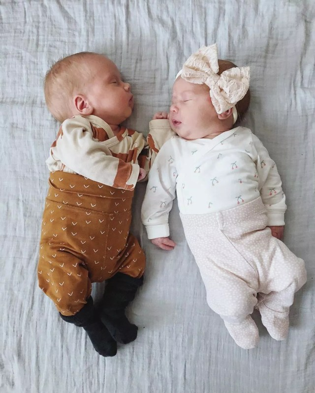 Boy and girl newborn twins. Photo by Instagram user @_heidiannika_