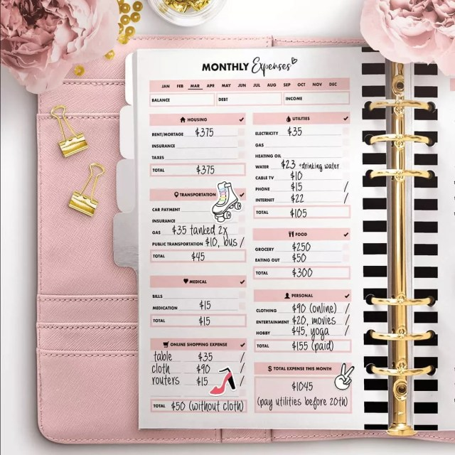 Monthly budget printable sheet in organizer. Photo by Instagram user @printable_for_planners