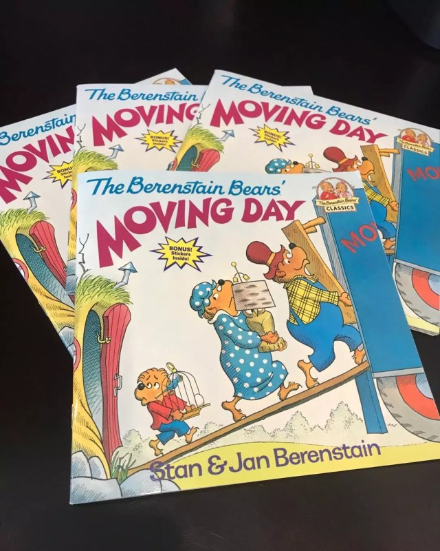 Copies of the Berenstain Bears Moving Day book. Photo by Instagram user @sarah.tiltlane