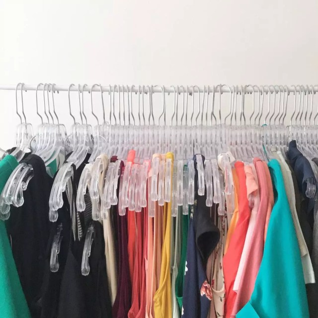 Rack of colorful clothes. Photo by Instagram user @rachelsstyle