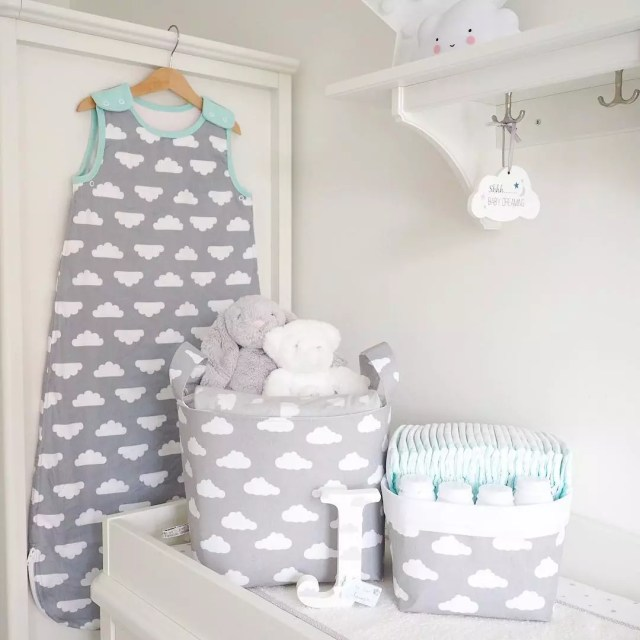 Matching cloud baby storage baskets. Photo by Instagram user @analisaxcx